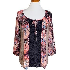Cynthia Rowley Crochet and Chiffon Blouse